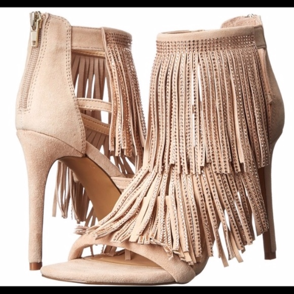 Steve Madden Shoes - NWT! Steve Madden Suede Fringed Heels in Blush